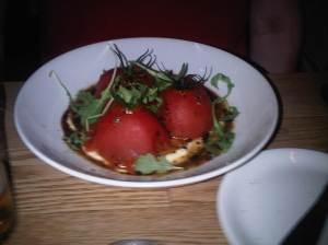 Tomates Vigne Stuffed with Beef Confit on Polenta