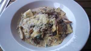 Homemade ricotta Ravioli with Confit canard & organic mushrooms